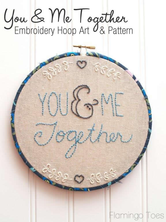 You and Me Together Embroidery Hoop Art