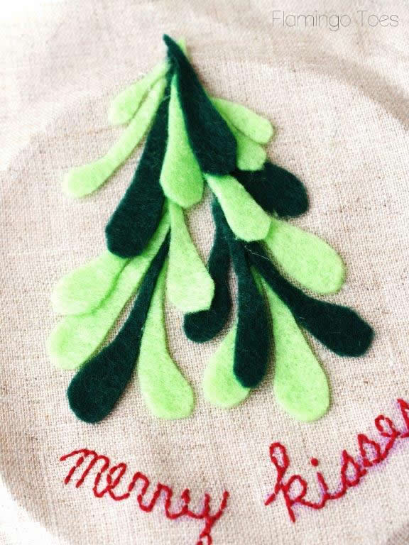 gluing mistletoe to fabric