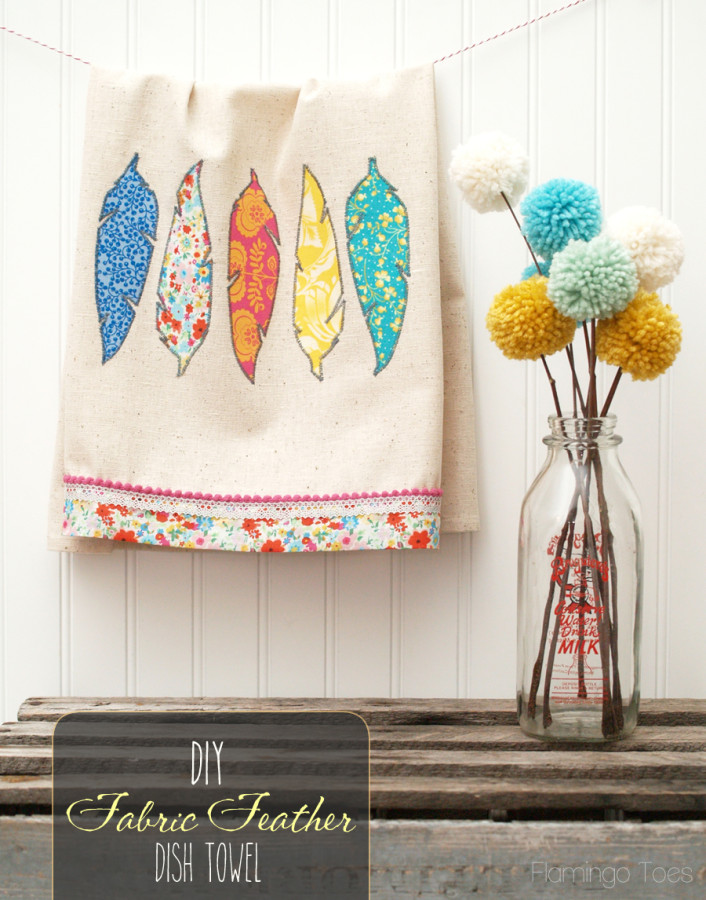 Pretty DIY Fabric Feathers Dishtowel Tutorial