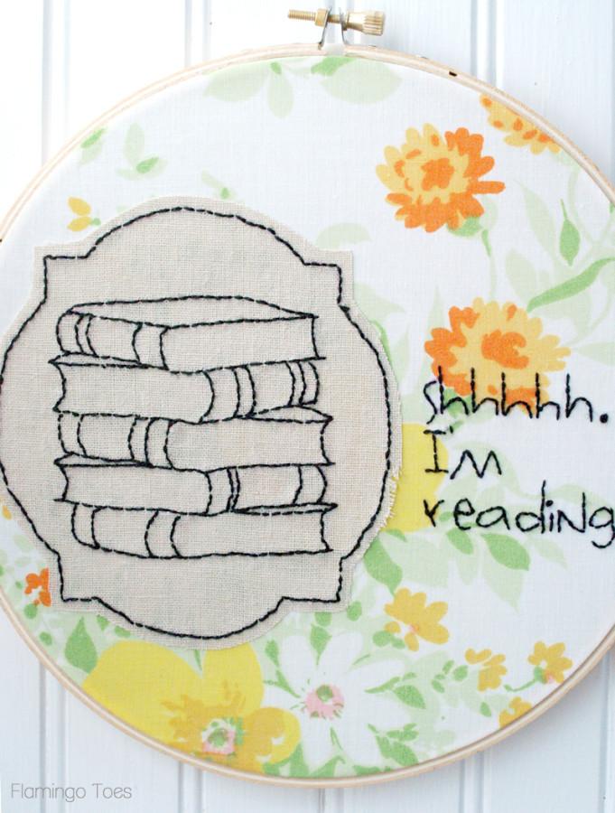 Reading Embroidery Hoop ARt