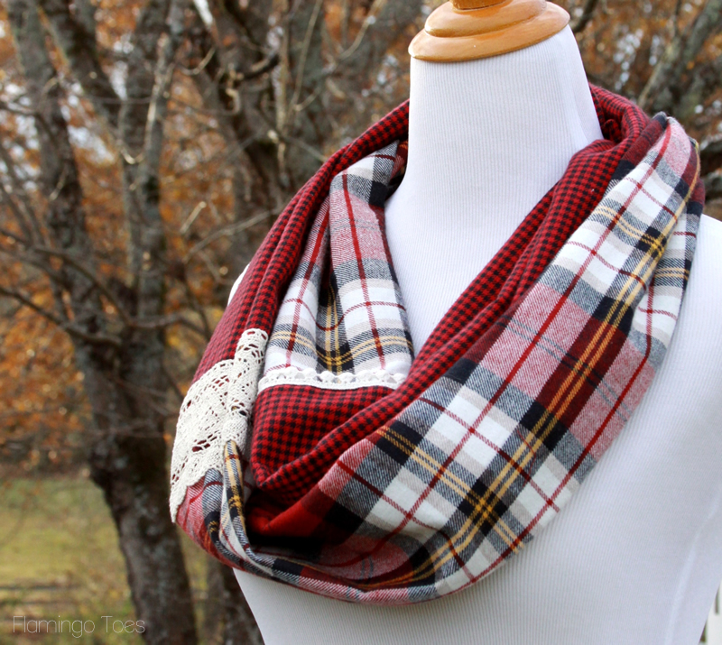 DIY Plaid Flannel Infinity Scarf