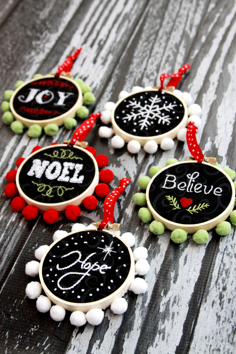 Hoop Art Christmas Ornaments