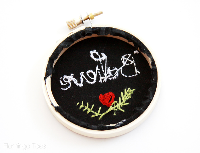 gluing back of embroidery hoop