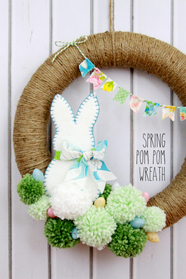 Spring Pom Pom Wreath DIY
