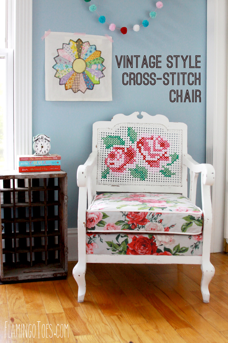 Vintage Style Cross Stitch Chair