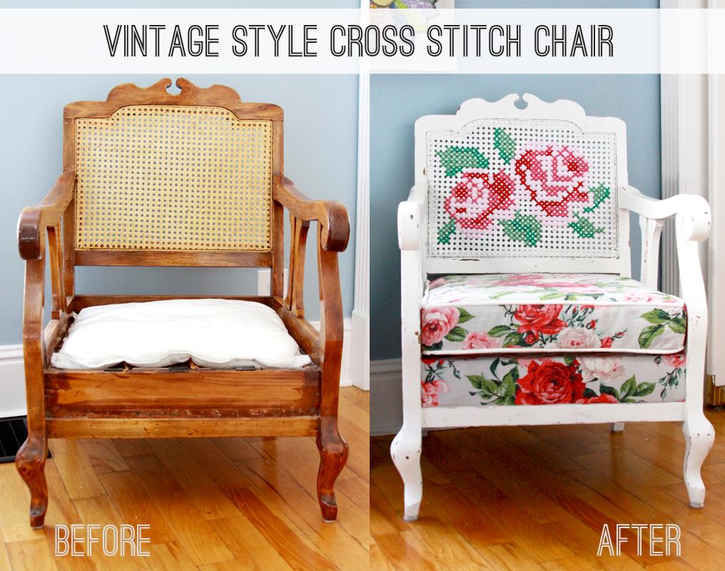 Vintage Style Cross Stitch Chair