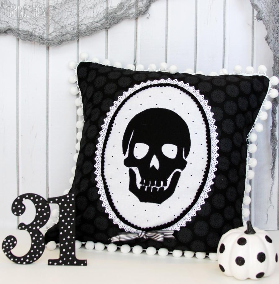 Black and White Skeleton Pillow