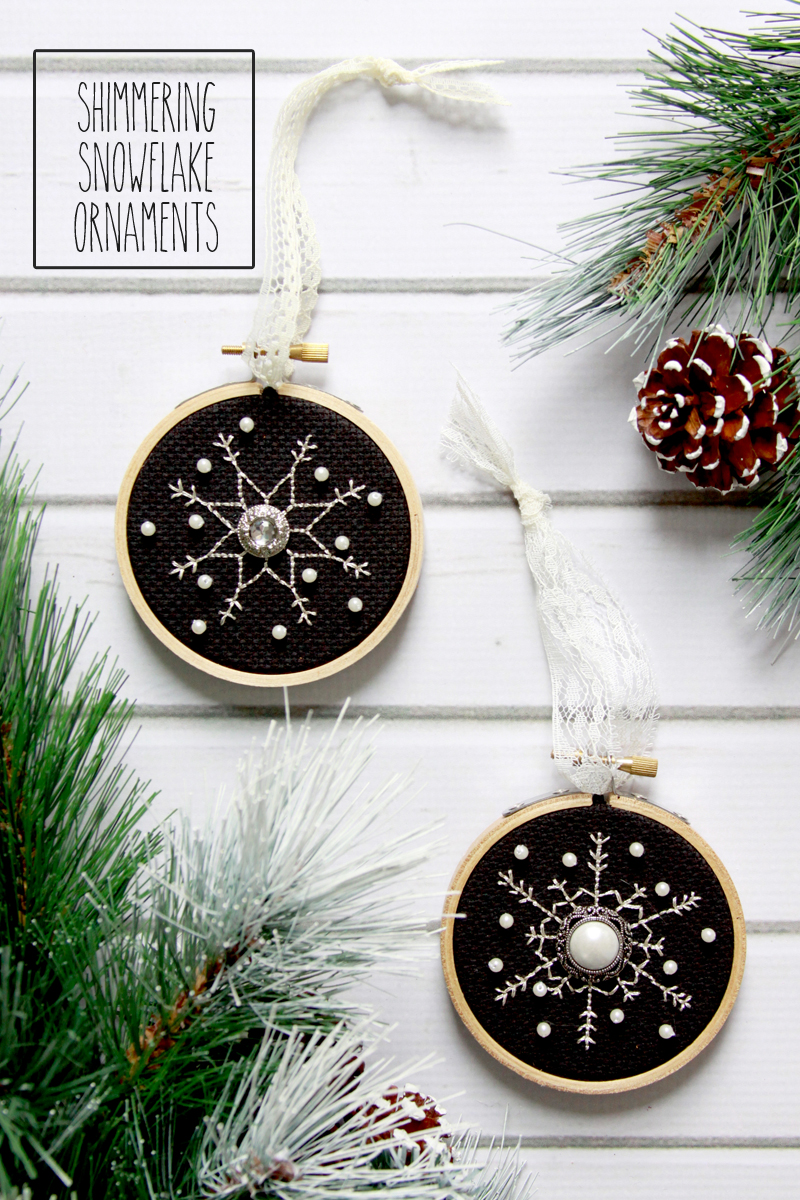 Shimmering Snowflake Cross Stitch Ornaments