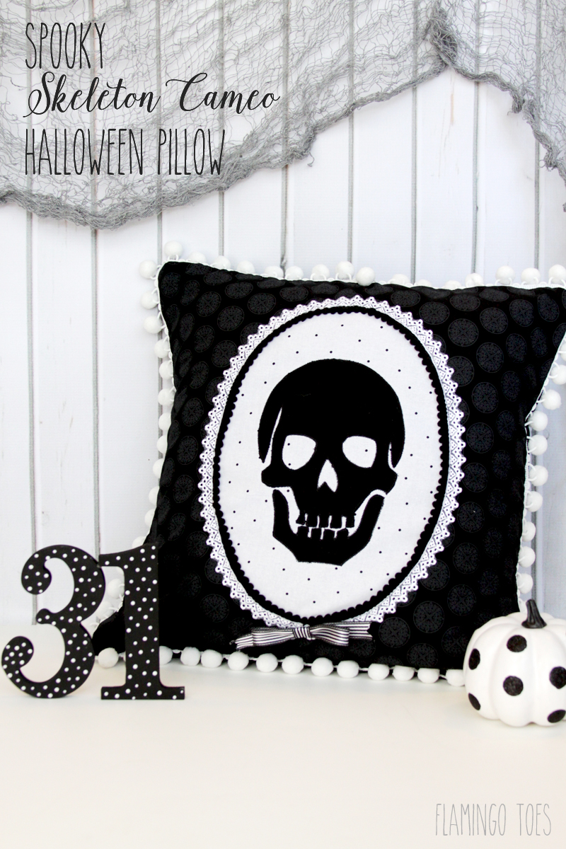 Spooky Skeleton Cameo Halloween Pillow