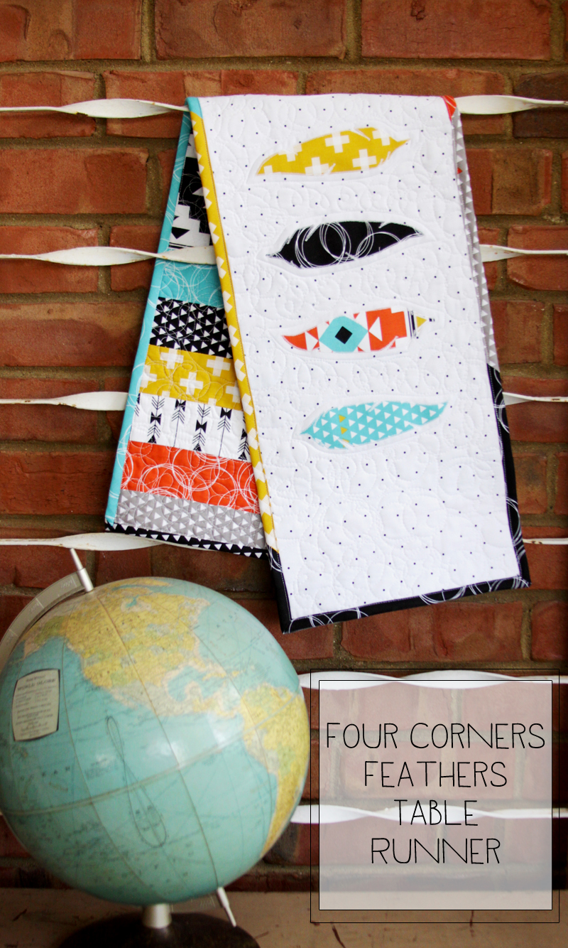 Four Corners Feathers Table Runner