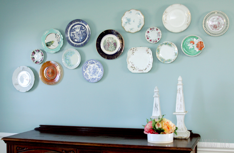 Pretty Plate Wall in Dining Room
