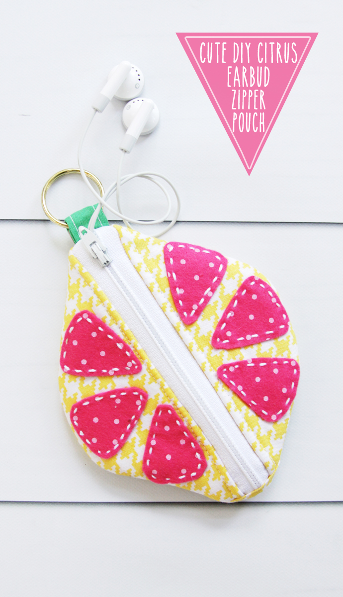 Cute DIY Citrus Earbud Zipper Pouch