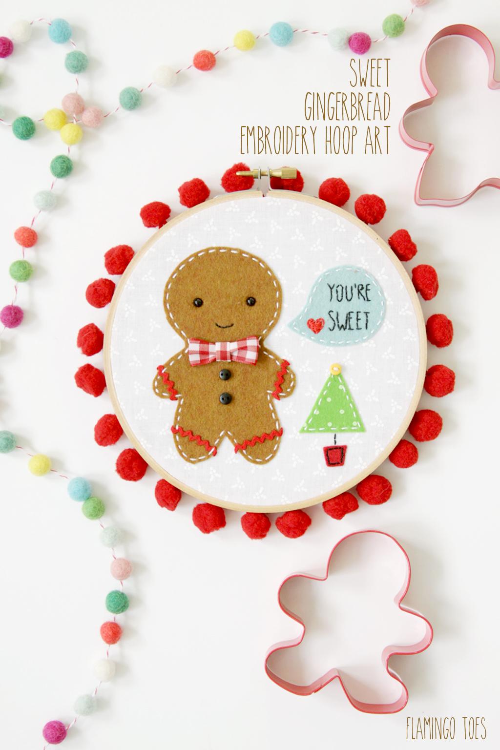 DIY Embroidery Hoop Art   Sweet Gingerbread Art   Christmas Gift Idea   Crafts   Ornament